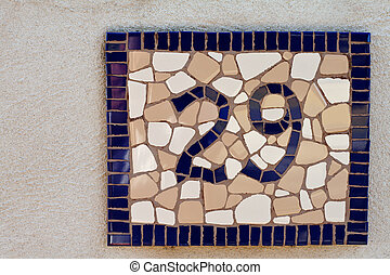 mosaic tiled number twenty nine sign for home