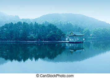 Fog lake - lake landscape in lushan,blue sky and the...