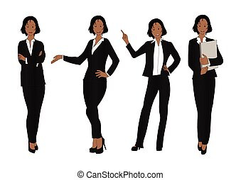 Business Woman Color Full Body Black
