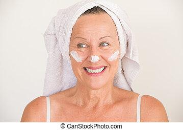 Attractive Mature Woman face skin care - Portrait beautiful...