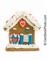 Gingerbread house - Mini gingerbread house isolated against...