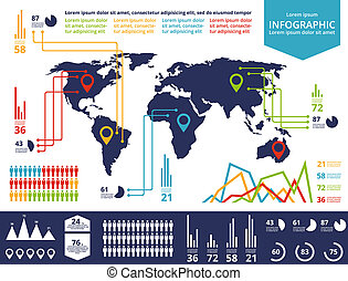 Map - Set elements of infographics World Map and Information...