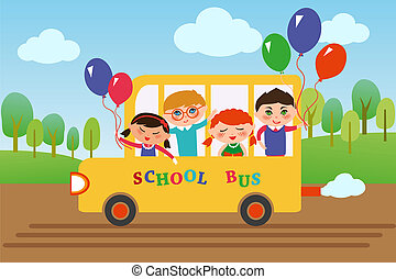 school_bus - Children of different nationalities are going...