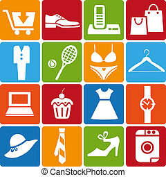 shopping_icons_set - Set of 16 shopping icons Vector...