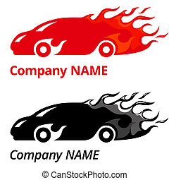 Speed - Vector illustration of red sport car with flames...