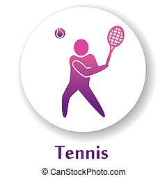 Tennis - vector icon with tennis player silhouette
