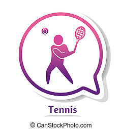 TennisB - vector icon with tennis player silhouette