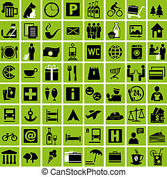 Travelicons - Set of tourist information icons. Vector...