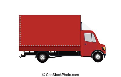 Red Small truck Silhouette Vector Illustration EPS10