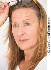 Confident attractive Mature Woman Glasses - Portrait...