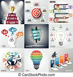Business infographic template set. Vector illustration. can...