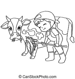 Coloring book child feeding cow vec - image of Coloring book...