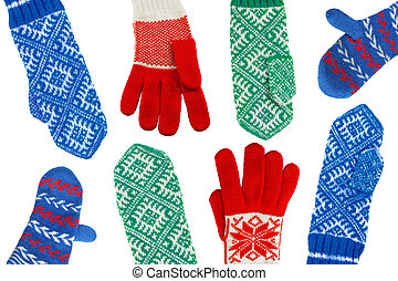 Mittens - Wool knitted winter mittens on a white background
