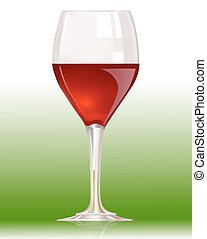 red wine glass on white background