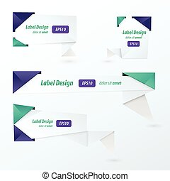 Origami 2 color style label set