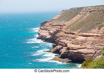 Kalbarri Cliff Coast Lookout - Scenic Aerial panoramic view...