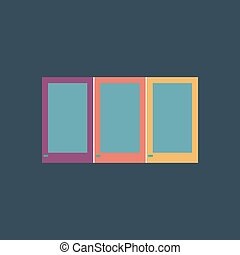Three window icon, sign and button - Three window Colorful...