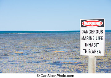 Warning Danger Ocean Life - Danger Sign, caution symbol at...