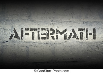 aftermath stencil print on the grunge white brick wall