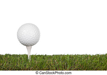 green with golfball - grass with golf ball on tee