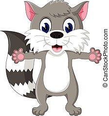 Raccoon cartoon waving - illustration of Raccoon cartoon...
