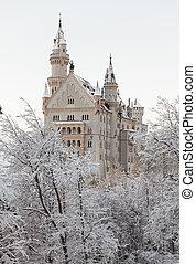 Neuschwanstein Castle in winter landscape Germany