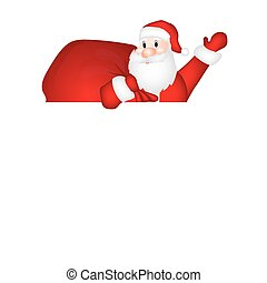 Santa Claus with white blank banner