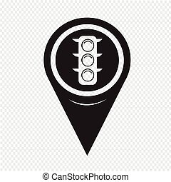 Map Pin Pointer Traffic lights icon