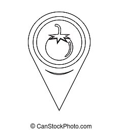 Map Pin Pointer tomato icon
