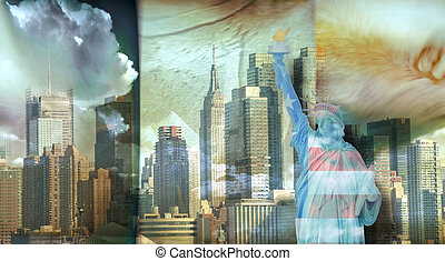 America NYC with Statue of Liberty