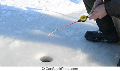 Fishing for live bait - Winter fishing. Fishing bait for...