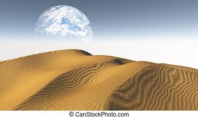 Amber Sand  Desert with Terraformed Moon or earth from terraformed moon or exoplanet