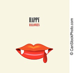 Happy Halloween design background with Vampire mouth. Vector illustration.