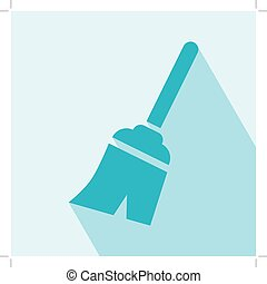 Broom Icon. Vector illustration. Elements for design. Rubber...