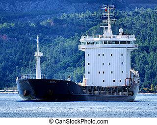 Cargo Vessel A1 - Cargo ship underway in coastal waters.