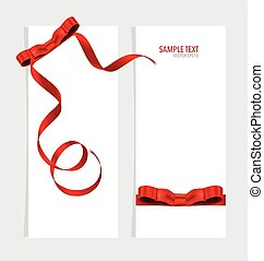 Cards with red ribbon. Vector illustration.