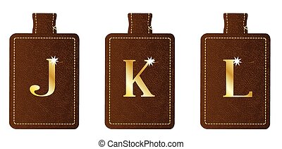 Alphabet Keyring and Fob JKL - A brown leather key fob and...