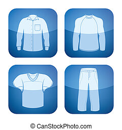Cobalt Square 2D Icons Set: Man\'s Clothing - Man\'s...