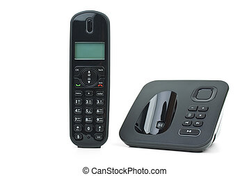 Black cordless phone handset and base unit - Black wireless...