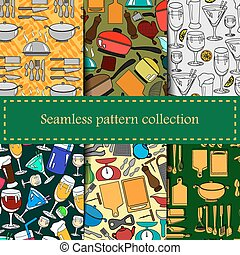 Set of seamless patterns with kitchen utensils