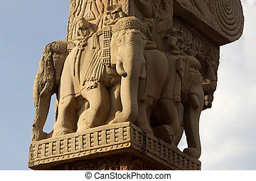 Sculptured Elephants at Sanchi - Elephants carved on stone...