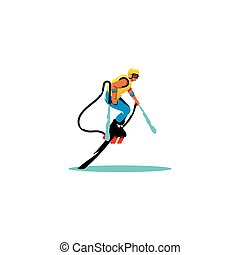 Flyboarding man. Vector Illustration. - The sportsman soars...