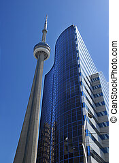 CN Tower in downtown Toronto and modern building