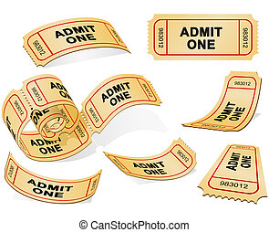 Tickets - Three-dimensional Tickets isolated on the white