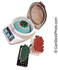 Modern electronic blood centrifuge with the set of test...