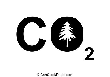 CO2 sign - A CO2 sign with a tree to symbolize carbon...