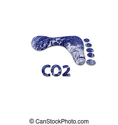 CO2 footprint - Footprint made up of water to represent...