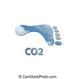 CO2 footprint - Footprint made up of blue sky with white...