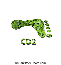 CO2 footprint - Footprint made up of green leaves to...