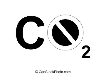 CO2 sign - A CO2 sign with a forbidden sign to symbolize...
